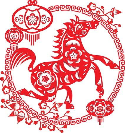 cavallo che salta: Cavallo intorno al telaio Fiore della prugna con lanterne