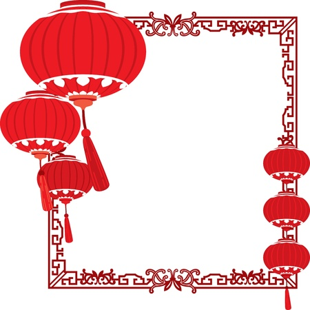 RED Chinese lanterns decorations Stock Vector - 21229900