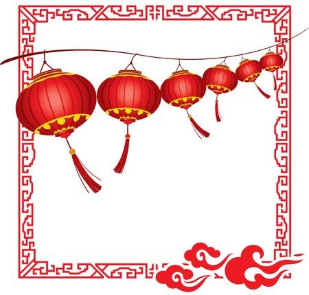 밝은 매달려 빨간 중국 등불 장식의 문자열