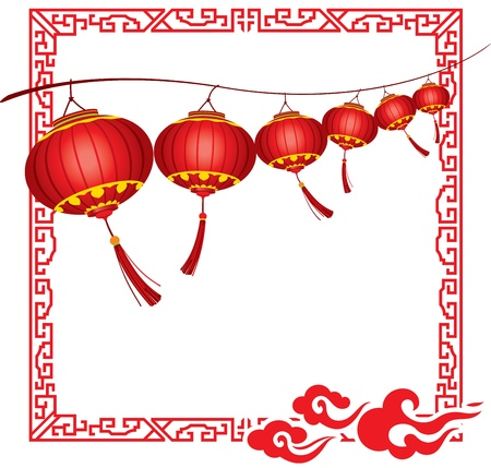 paper lantern: String of bright hanging Red Chinese lanterns decorations