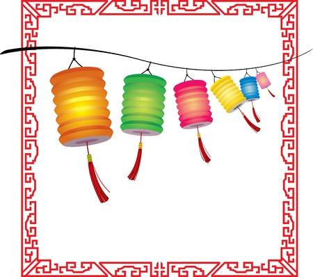 밝은 매달려 중국 제등 장식의 문자열