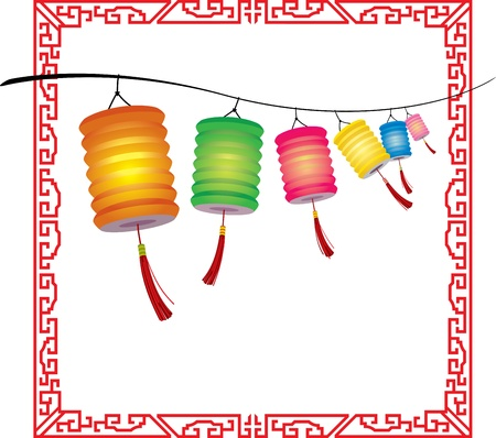 String of bright hanging Chinese lanterns decorations Vector