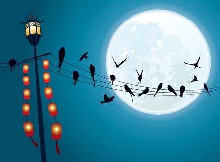 Zwaluwen op de snaar met Volle maan achtergrond Vector Illustratie