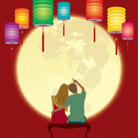 gaze: Een echtpaar geniet van het volle maan terwijl de Chinese Mid-festival Stock Illustratie