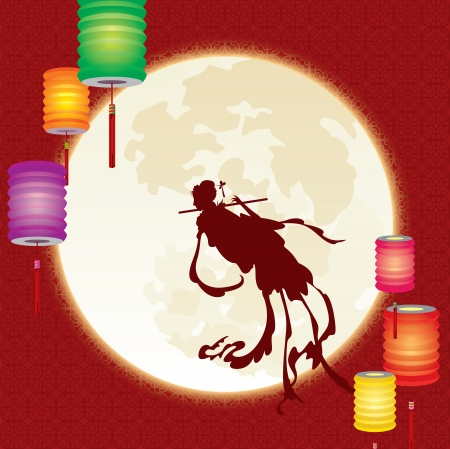 Chinese Mid-festival traditional story - Chinese fairy fly to the moon Vector
