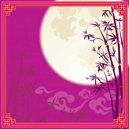 new year s eve: Full moon and bamboo silhouette for Chinese mid autumn festival