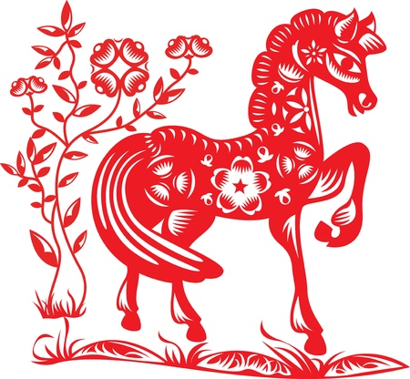 paper cut: Year of the Horse Illustration