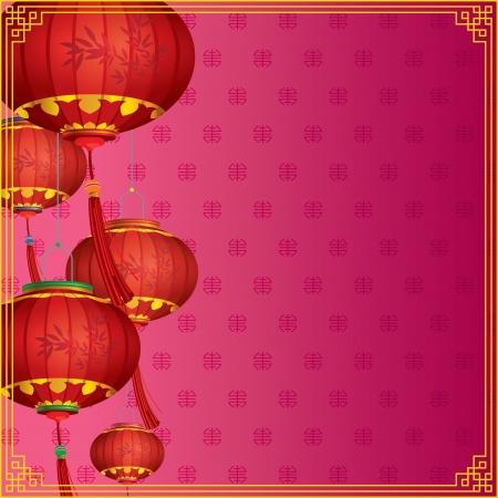 faroles: Linternas chinas rojas en fondo púrpura tradicional, con diferentes capas de dibujo ilustración