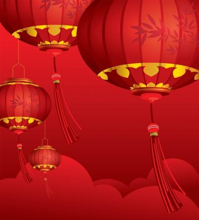 빨간 중국 등불 장식과 구름 배경