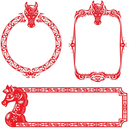 bucking horse: Year of Horse border design elements illustration set, the center space area for the designer to fill the message they want