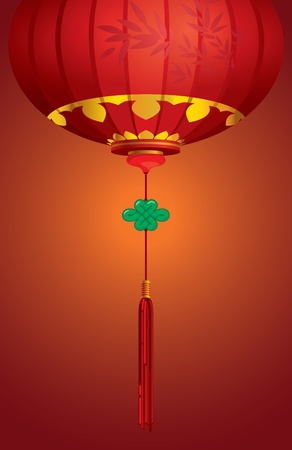 Contemporary Chinese lantern background design with Knot Jade Vector