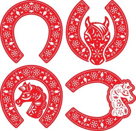 Hoefijzer symbool ontwerpen in Chinese papier gesneden stijl aan de CNY vieren