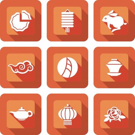 오렌지에서 설정 중순 중국 축제 아이콘 디자인, 매체 아이콘 중국어 서면으로 달을 의미 스톡 콘텐츠 - 21990601