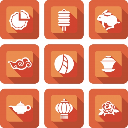 moon cake: Chinese mid autumn festival icon design set in orange, medium icon means moon in Chinese writing