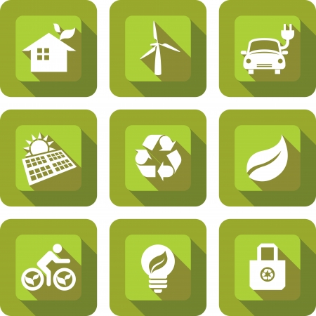 ECO friendly icon design sets in green Vector