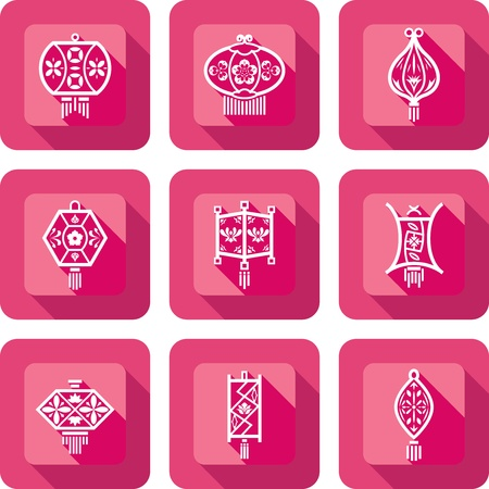Contemporary Chinese Lanterns design icon set in paper cut style Vector