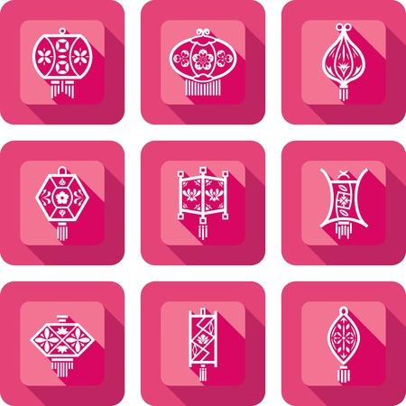 papierlaterne: Contemporary Chinese Lanterns Design Icon Set in Papier schneiden Stil
