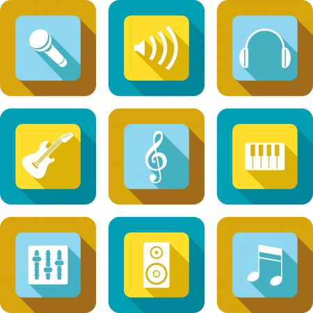 transducer: Music and related icons design set
