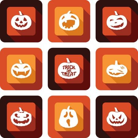 Jack O lantern faces Icon design set
