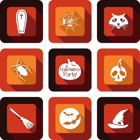 Happy Halloween party icon design set Vector