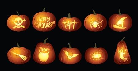 Halloween Pumpkin lanterns design set