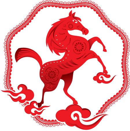 chinese border: Horse illustration with Chinese style border