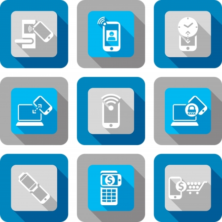 Smart phone with Near Field Communication Icon design set Vector