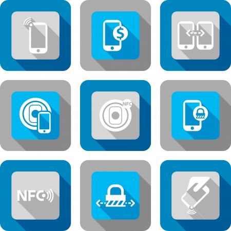 Smart phone avec la technologie Near Field Communication jeu d'icônes du design Banque d'images - 23241909