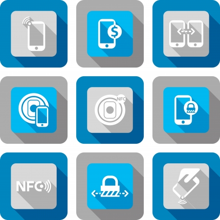nfc: Smart phone with Near Field Communication technology icon design set