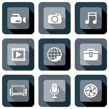 photography icon: Multimedia icon design set in black and white Illustration