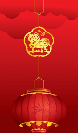 a symbol: Contemporary Chinese Lantern with golden Horse decoration for Chinese New Year Illustration