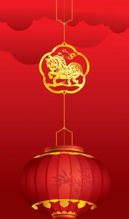 holiday symbol: Lanterna cinese contemporaneo con decorazione cavallo d'oro per il Capodanno cinese