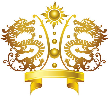 Metal, Dragon, Crown, Gold, Ribbon, Shield, Pair, Sphere, Chinese Ethnicity, Chinese Culture, Fireball, Vector, Illustration and Painting, Curve