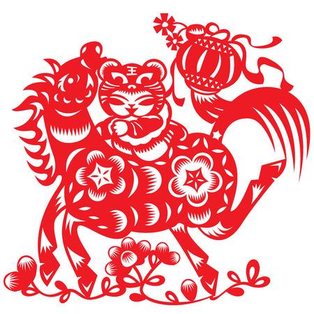 Poupée chinoise monter un cheval dans le style papier découpé Banque d'images - 23860641