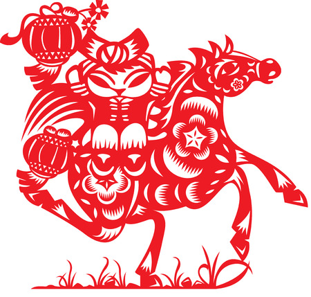 Chinese doll ride a horse in paper cut style