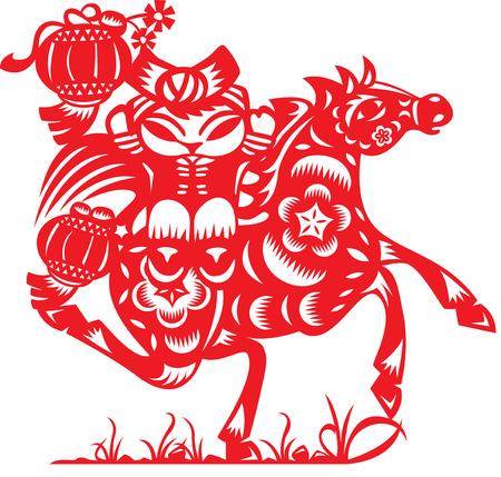 mu�ecas de papel: Mu�eca china montar a caballo en el estilo de corte de papel Vectores