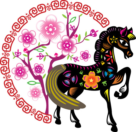 Color Young horse stand in front of the Chinese New Year flower background