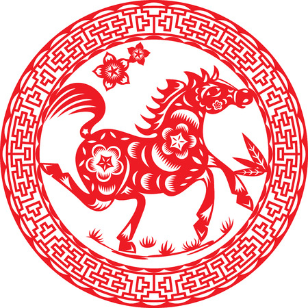 Horse of the year, illustration design around Chinese deco pattern Vector