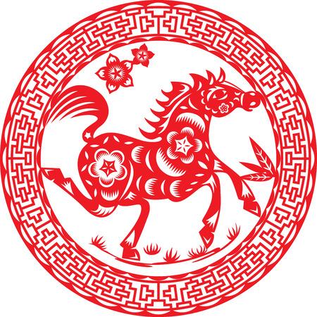 Horse of the year, illustration design around Chinese deco pattern Illustration
