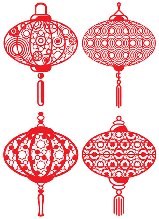 Contemporary lanterns design set 向量圖像