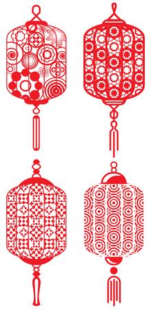 Contemporary lanterns design set Ilustrace