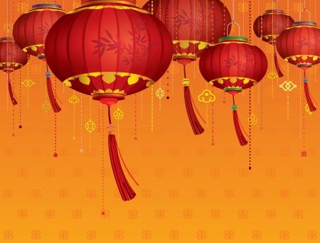 vibran: Linternas rojas decoraciones chinas y fondo naranja