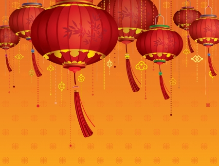 RED Chinese lanterns decorations and orange background Stock Vector - 24366656