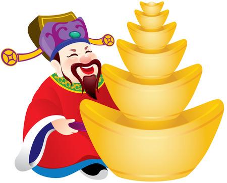 процветание: Китайский бог процветания дизайн иллюстрации, он держит золотые слитки