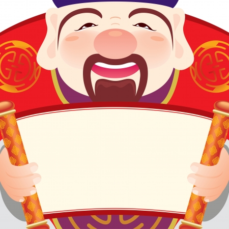 new year  s day: Money god holding a blank scroll to celebrate the Chinese Festival
