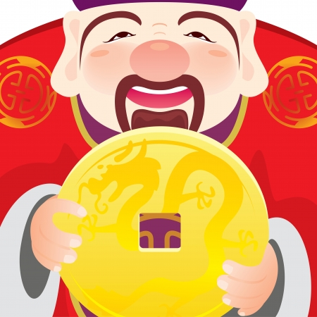 Money god holding a gold coin to celebrate the Chinese Festival Vector