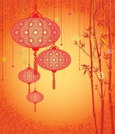 Oranje Lantaarns en bamboe achtergrond Stock Illustratie
