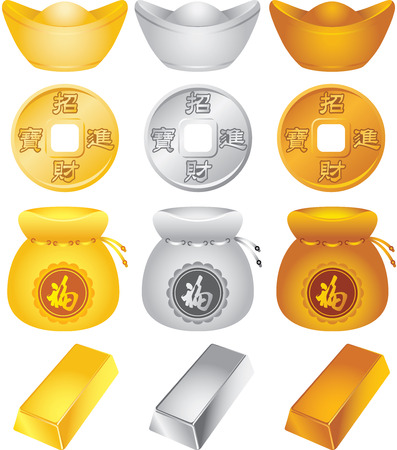 Wealth design elements illustration set