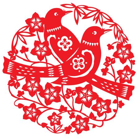 urraca: Papel-corte de doble urraca de pie en la flor de durazno