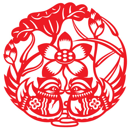 craft product: Paper-cutting of mandarin duck in lotus farm Illustration